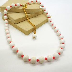 Vintage Red White Plastic Bead Necklace
